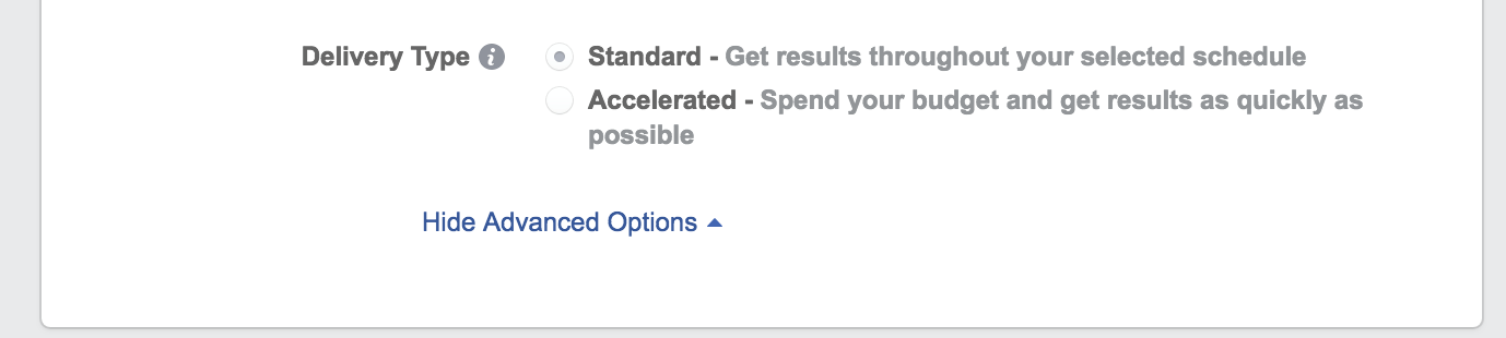 facebook ad budget settings